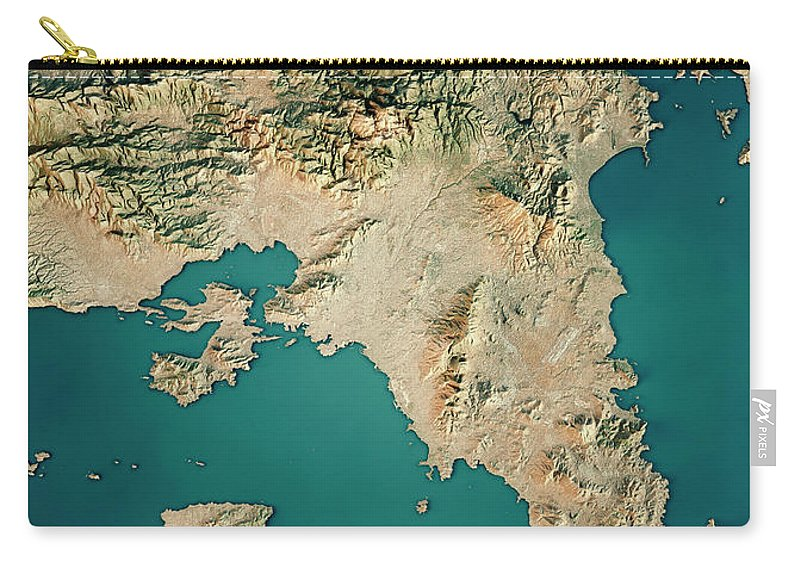 Attica Greece 3d Render Satellite View Topographic Map Carry All