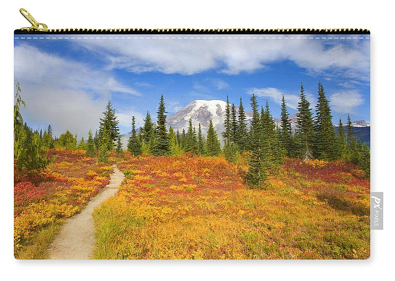 Mt. Rainier Carry-all Pouch featuring the photograph Autumn Trail by Mike Dawson