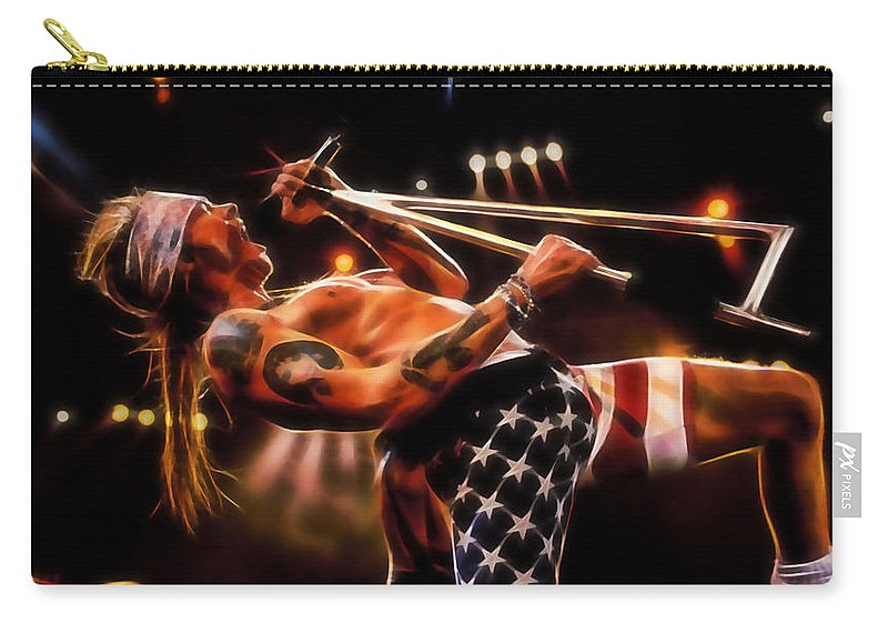 Axl Rose Carry-all Pouch featuring the mixed media Axl Rose Collection by Marvin Blaine