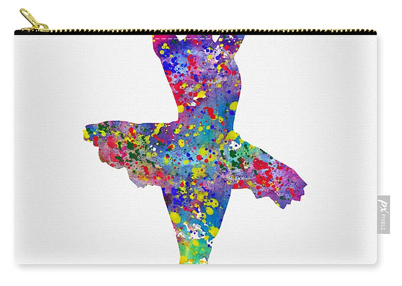 Ballet Dancer Carry-all Pouch featuring the digital art Ballet Dancer-colorful by Erzebet S