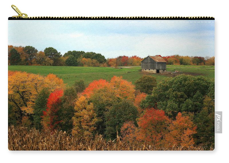 Affordable Carry-all Pouch featuring the photograph Barn On Autumn Hillside A Seasonal Perspective Of A Quiet Farm Scene by Angela Rath
