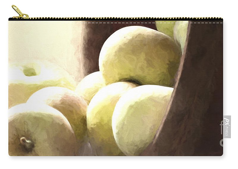 Apples Carry-all Pouch featuring the photograph Basket Of Apples by Pam Holdsworth