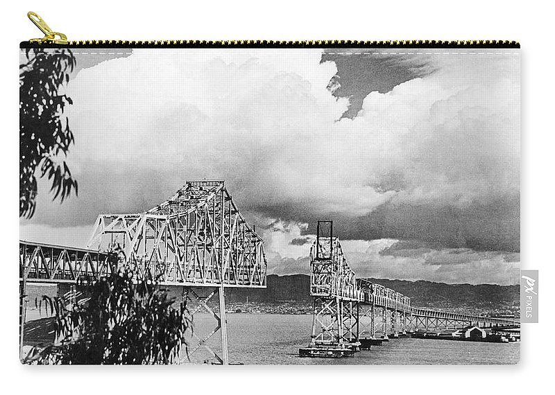 1930s Carry-all Pouch featuring the photograph Bay Bridge Under Construction by Underwood Archives