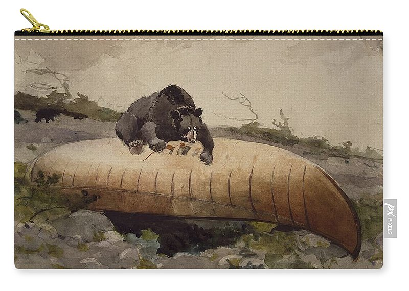Winslow Homer (american Carry-all Pouch featuring the painting Bear And Canoe by MotionAge Designs