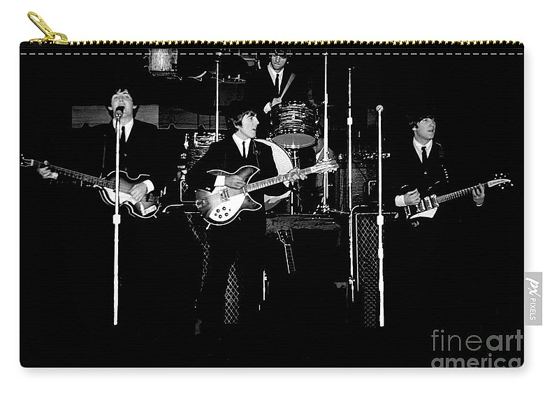 Beatles Carry-all Pouch featuring the photograph Beatles In Concert 1964 by Larry Mulvehill