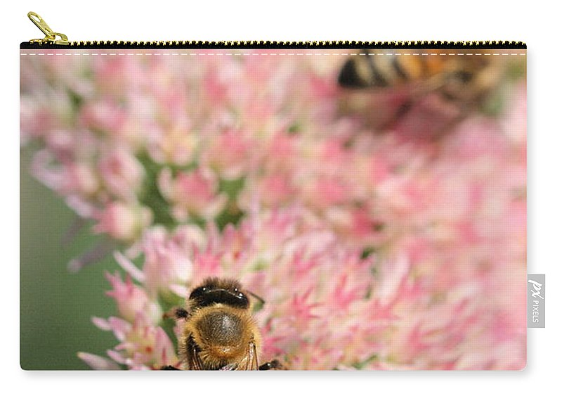 Bee Carry-all Pouch featuring the photograph 2 Bees by Angela Rath
