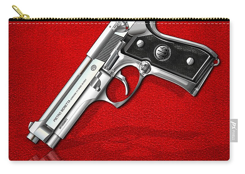 The Armory By Serge Averbukh Carry-all Pouch featuring the photograph Beretta 92FS Inox over Red Leather by Serge Averbukh
