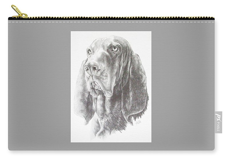 Purebred Dogs Carry-all Pouch featuring the drawing Black And Tan Coonhound by Barbara Keith