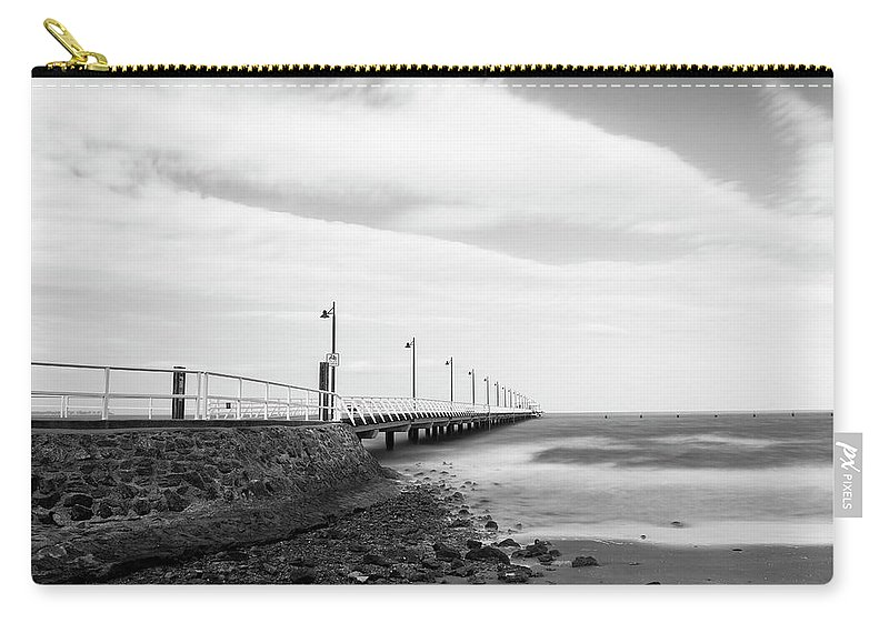 Australia Carry-all Pouch featuring the photograph Black And White Image Of Shorncliffe Pier by Rob D