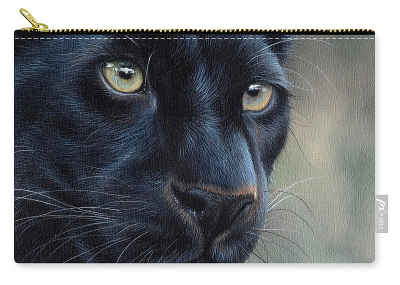 Black Carry-all Pouch featuring the painting Black Panther by Sarah Stribbling