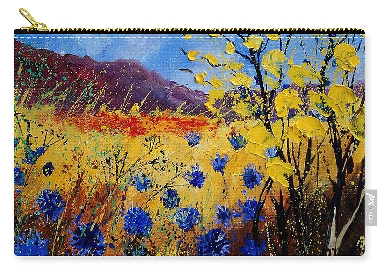 Poppies Flowers Floral Carry-all Pouch featuring the painting Blue Cornflowers by Pol Ledent