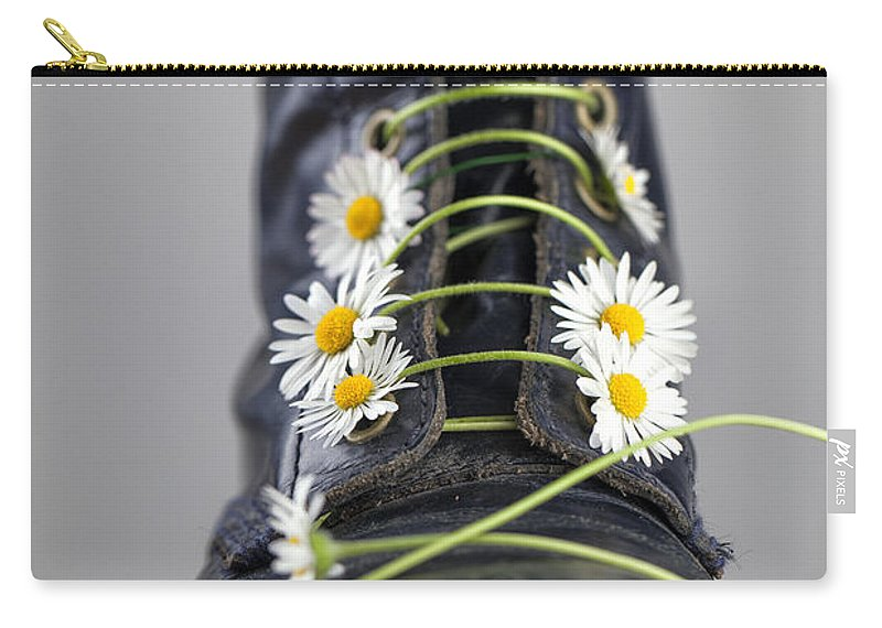 Boot Carry-all Pouch featuring the photograph Boots with Daisy Flowers by Nailia Schwarz