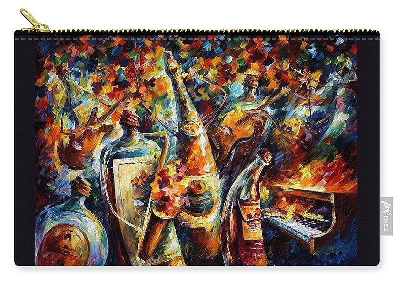 Afremov Carry-all Pouch featuring the painting Bottle Jazz by Leonid Afremov