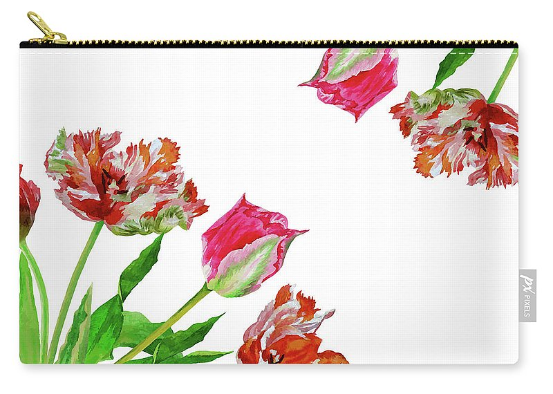 Bouquet Carry-all Pouch featuring the digital art Bouquet Of Tulips by Natalia Piacheva