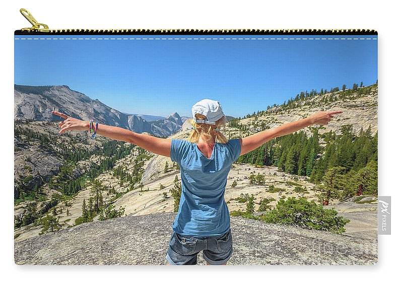 Yosemite Carry-all Pouch featuring the photograph Break After Yosemite Hiking by Benny Marty