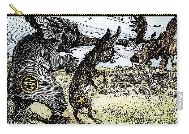 1912 Carry-all Pouch featuring the photograph Bull Moose Campaign, 1912 by Granger