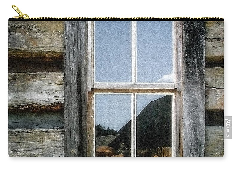 Log Cabin Carry-all Pouch featuring the photograph Cabin Window by Todd A Blanchard