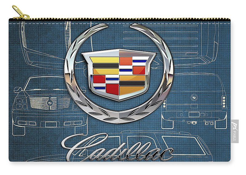 'wheels Of Fortune' By Serge Averbukh Carry-all Pouch featuring the photograph Cadillac 3 D Badge over Cadillac Escalade Blueprint by Serge Averbukh