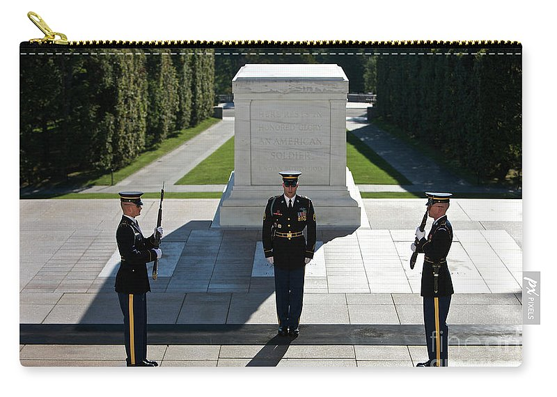 Horizontal Carry-all Pouch featuring the photograph Changing Of Guard At Arlington National by Terry Moore