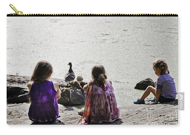 Girls Carry-all Pouch featuring the photograph Children At The Pond 5 by Madeline Ellis