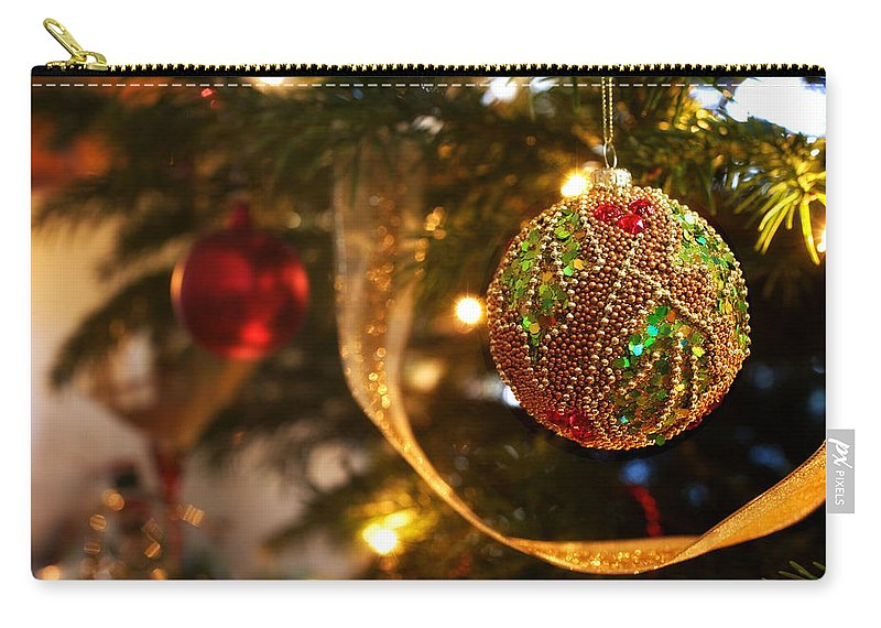 Christmas Carry-all Pouch featuring the photograph Christmas Tree Decorations by Mal Bray