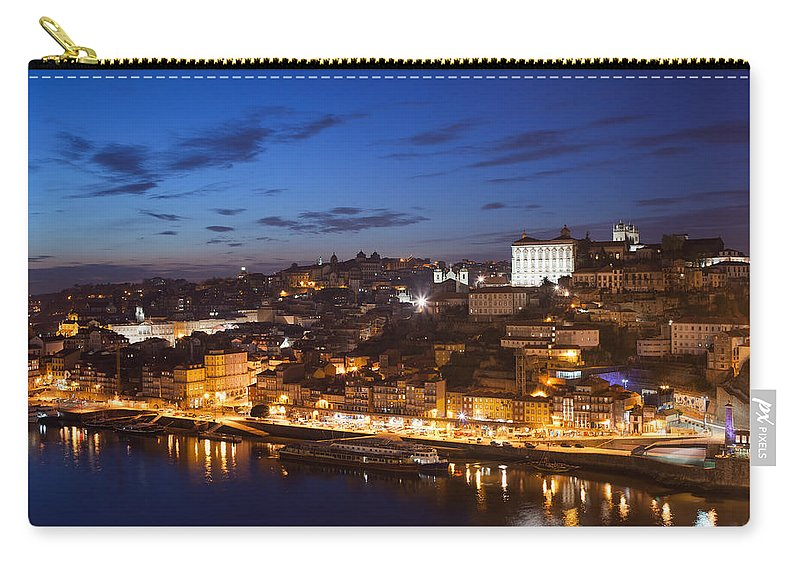 Porto Carry-all Pouch featuring the photograph City Of Porto In Portugal By Night by Artur Bogacki