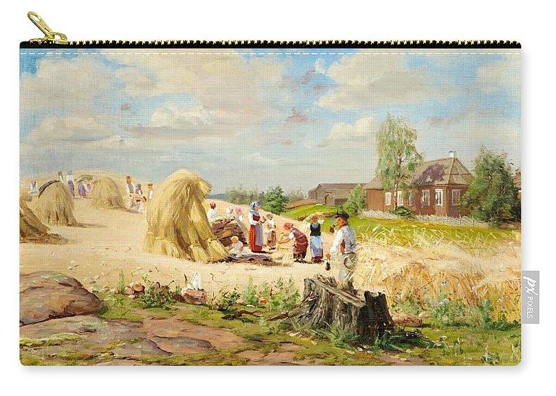 Elias Muukka (1853-1938) Coffee Break Carry-all Pouch featuring the painting Coffee Break by Elias Muukka