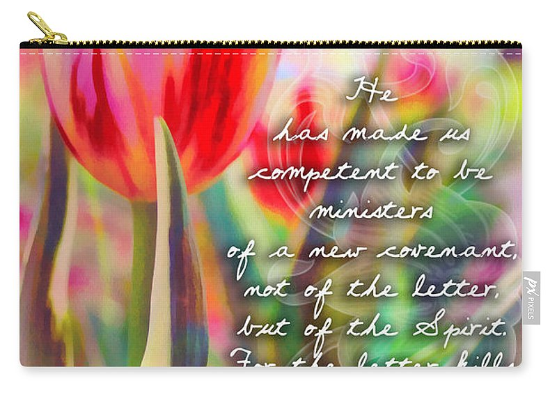 Jesus Carry-all Pouch featuring the digital art 2 Corinthians 3 6 by Michelle Greene Wheeler