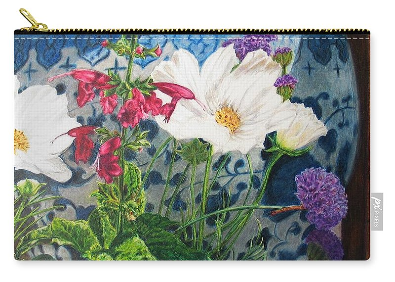 Flowers Carry-all Pouch featuring the painting Cosmos by Karen Ilari