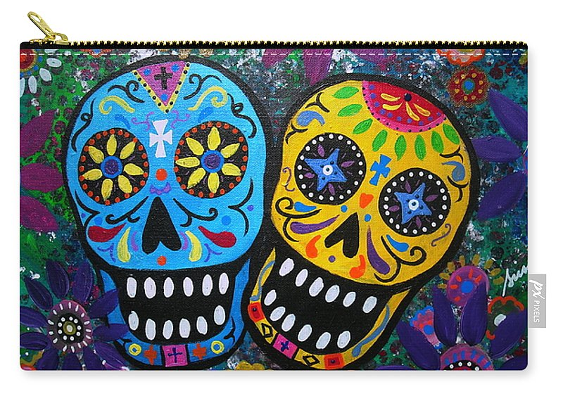 Day Of The Dead Carry-all Pouch featuring the painting Couple Day Of The Dead by Pristine Cartera Turkus