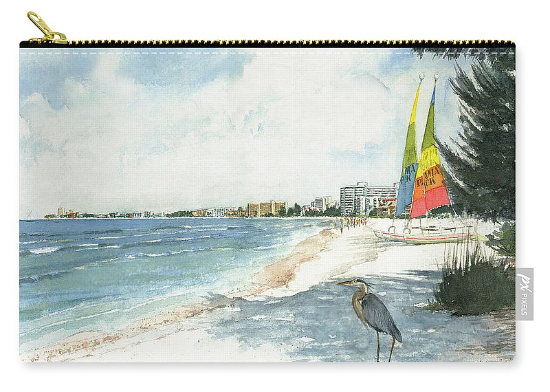 Siesta Key Carry-all Pouch featuring the painting Blue Heron And Hobie Cats, Crescent Beach, Siesta Key by Shawn McLoughlin