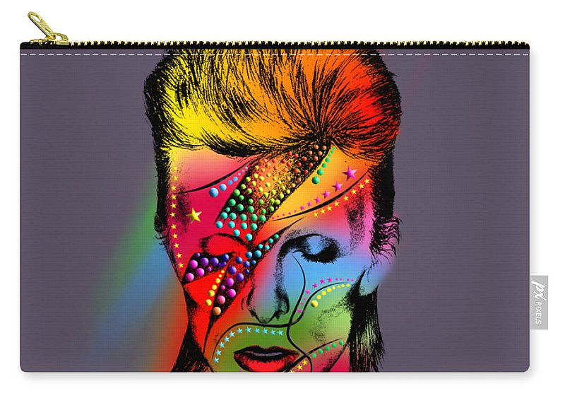 Carry-all Pouch featuring the digital art David Bowie by Mark Ashkenazi