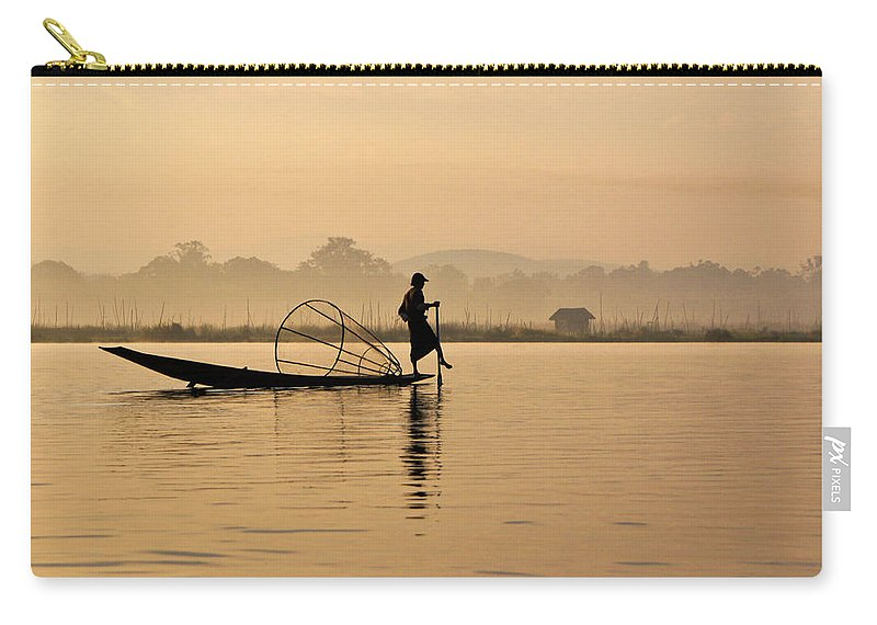 Asia Carry-all Pouch featuring the photograph Dawn On Inle Lake by Michele Burgess