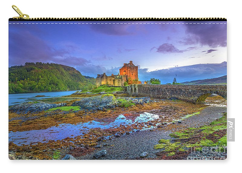 Eilean Donan Castle Carry-all Pouch featuring the photograph Eilean Donan Twilight by Benny Marty