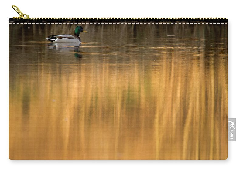 Sunset Carry-all Pouch featuring the photograph Evening By The Pond by Angel Ciesniarska