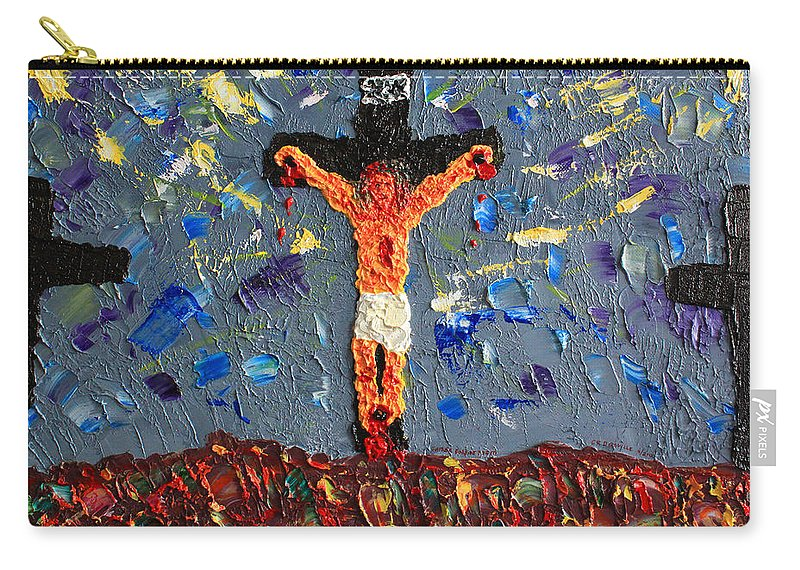 Jesus Carry-all Pouch featuring the painting Father Forgive Them by Carl Deaville