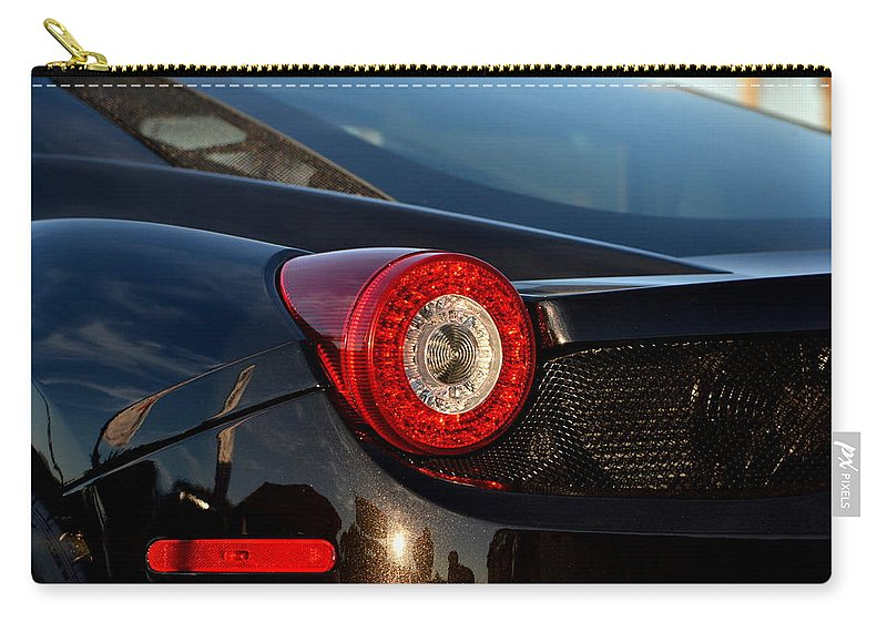 Carry-all Pouch featuring the photograph Ferrari Tail Light by Dean Ferreira