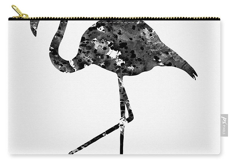 Flamingo Carry-all Pouch featuring the digital art Flamingo-black by Erzebet S