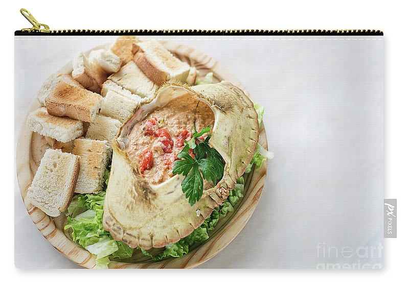 Crab Carry-all Pouch featuring the photograph Fresh Crab Seafood Cream Mousse With Toast Tapas Snack by Jacek Malipan