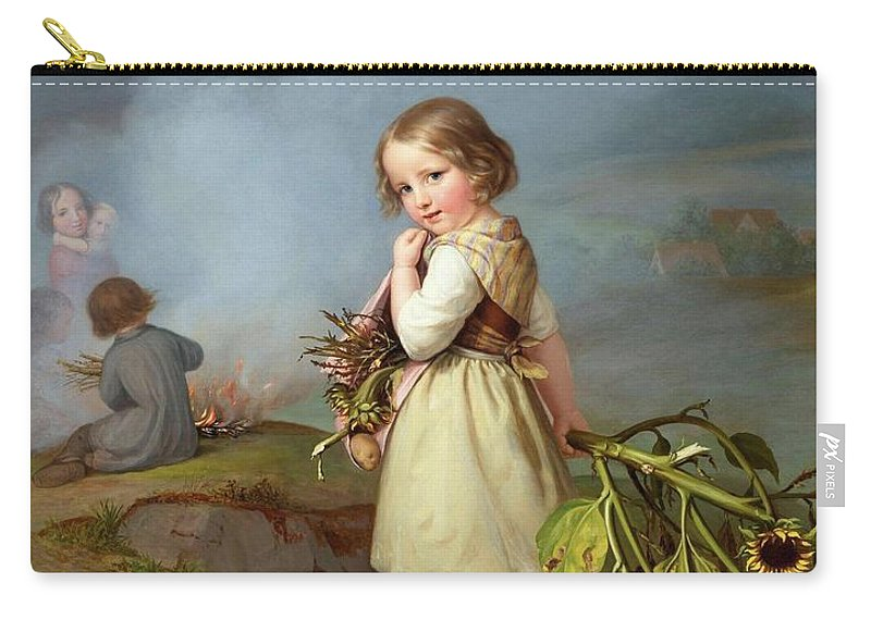 Embde Carry-all Pouch featuring the painting Girl On Her Way To Cooking Potatoes In The Fire by MotionAge Designs