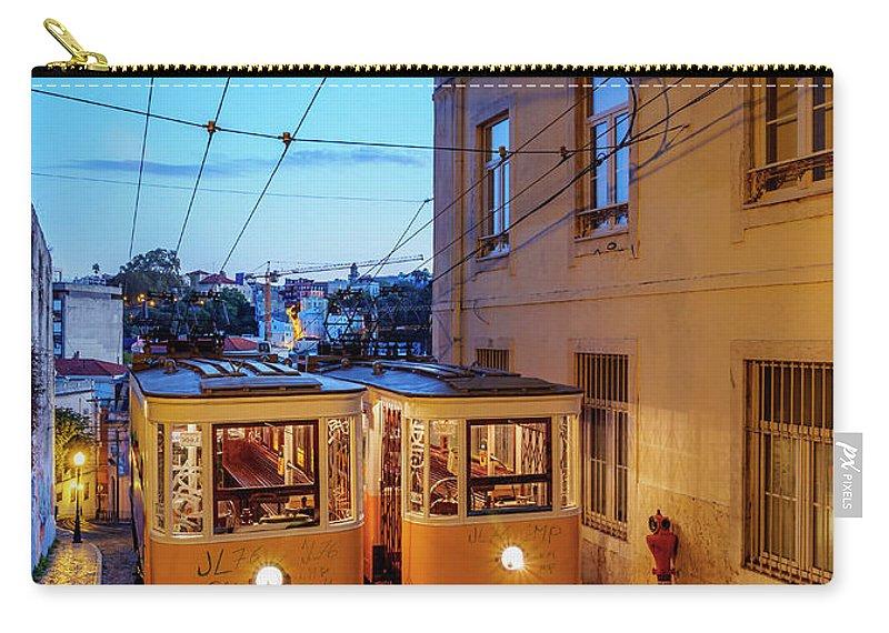Gloria Carry-all Pouch featuring the photograph Gloria Funicular, Lisbon, Portugal by Karol Kozlowski