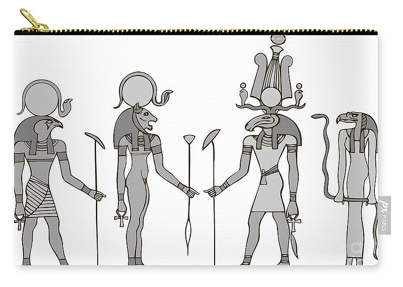 Apis Carry-all Pouch featuring the digital art Gods Of Ancient Egypt by Michal Boubin