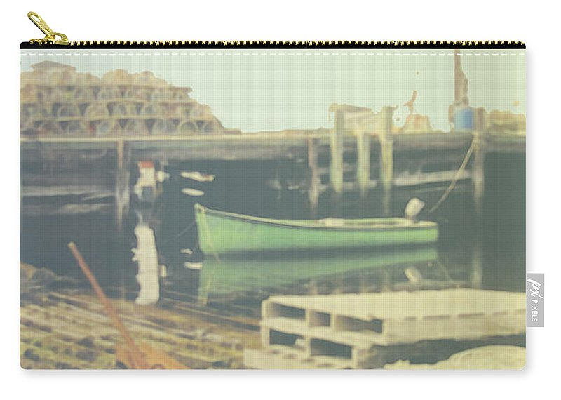 Peggys Cove Carry-all Pouch featuring the photograph Green Boat by Ian MacDonald