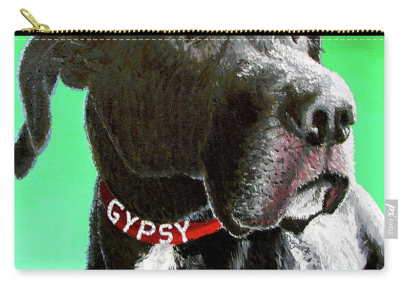 Dog Portrait Carry-all Pouch featuring the painting Gypsy by Stan Hamilton