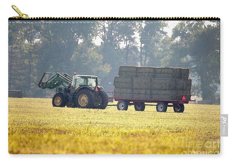 Farm Carry-all Pouch featuring the painting Hauling Hay At Dusk by J McCombie