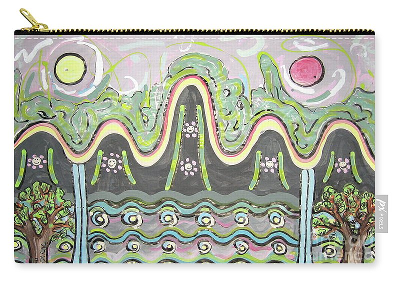 Landscape Painting Carry-all Pouch featuring the painting Ilwolobongdo Abstract Landscape Painting2 by Seon-jeong Kim