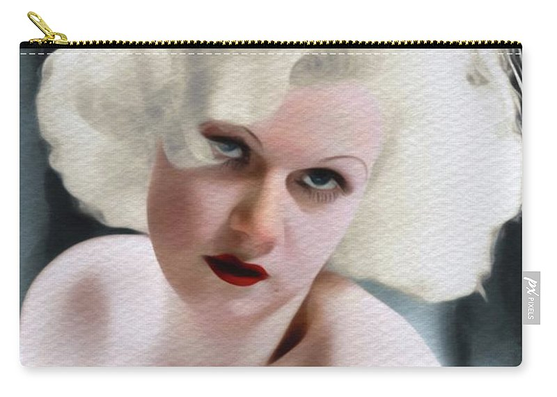 Jean Carry-all Pouch featuring the painting Jean Harlow, Vintage Movie Star by John Springfield