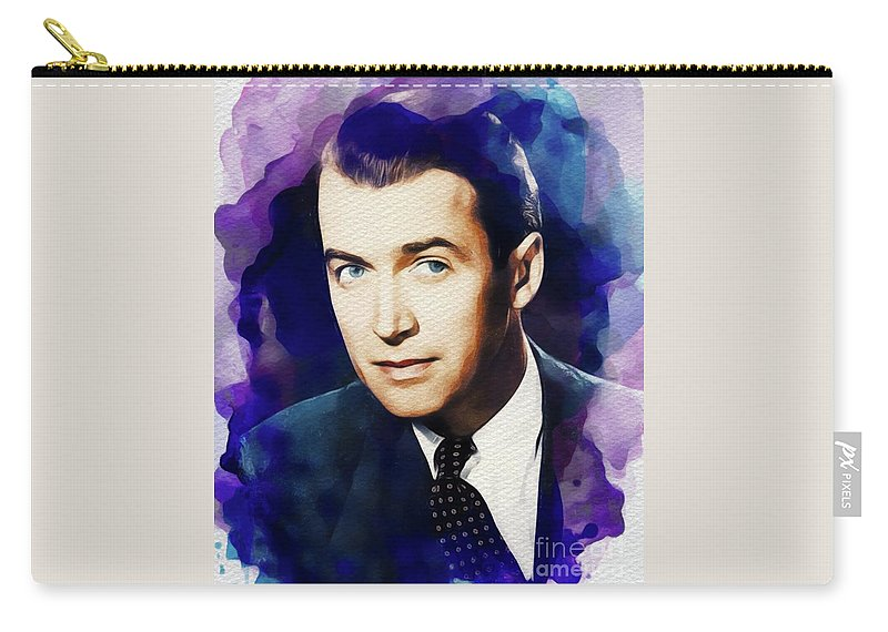 James Carry-all Pouch featuring the painting Jimmy Stewart, Vintage Movie Star by John Springfield