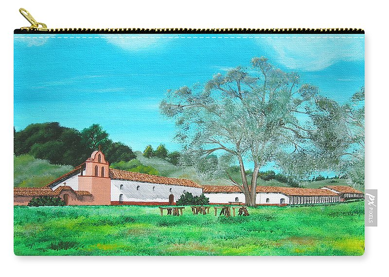 La Purisima Carry-all Pouch featuring the painting La Purisima Mission by Angie Hamlin