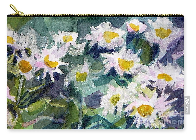 Flowers Carry-all Pouch featuring the painting Little Asters by Jan Bennicoff